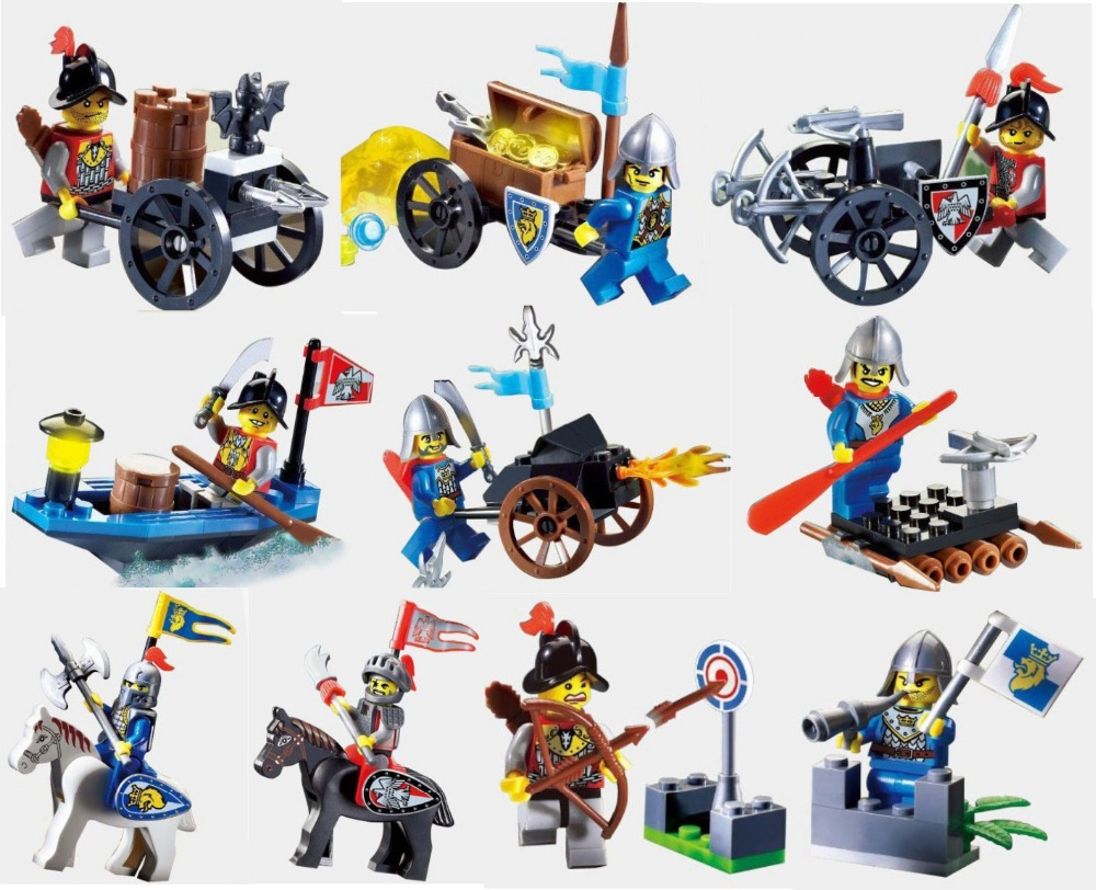 1Castle Series Knights soldier building block bricks toys weapons Minifugres / War chariot horse Compatible Legao - F & C Store store
