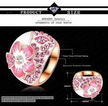 2015 New Enamel Flower Rings Real 18K Gold Plated Pink Ring Jewelry Pink Genuine Austrian Crystal