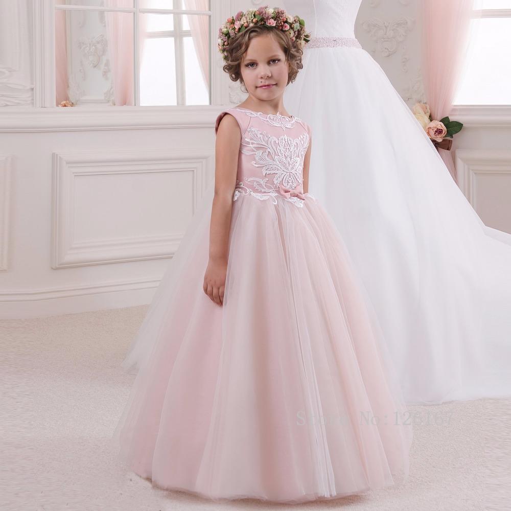 Pink long ball gown flower girl 39 s dress 2016 appliqued bow for Flower dress for wedding