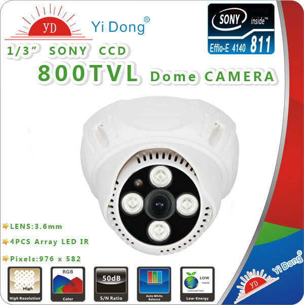 Security 1/3 inch Sony Effio CCD 800TVL Array LEDS IR Indoor Dome CCTV camera SONY Camera - YIDONG FOREIGN TRADE STORE store