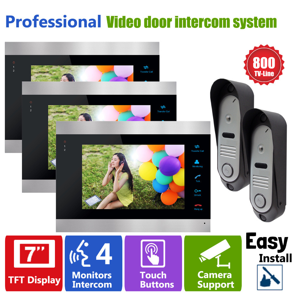 YSECU Video Door Intercom 3 Monitors Wired Video Door Phone Intercom 7 Inch TFT LCD Monitor