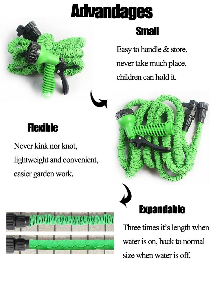 CE 50ft green garden hose with nozzle water jet nozzles with EUUS connector aliexpress china (7)