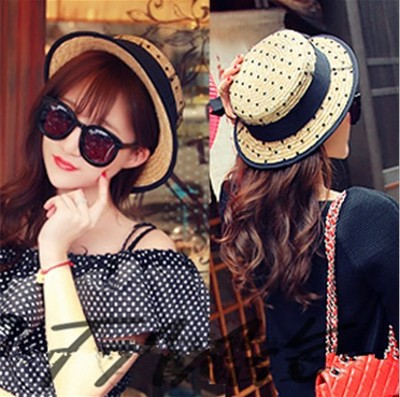 Korean hat Xia Tianbo dot lace a parent-child flat hat girl small hat sun hat(China (Mainland))