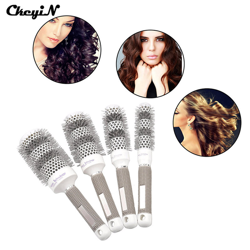 4 Pcs 25-53 mm Professional Hair Styling Roll Round Hair Comb Hairdressing Barber Hair Salon Hairbrush Hair Dressing Tools S5253(China (Mainland))