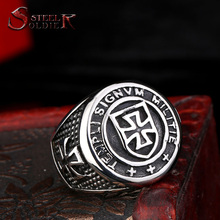 Steel soldier New Arrival cross Knights Templars ring men stainless steel unique jewelry exquisite men ring