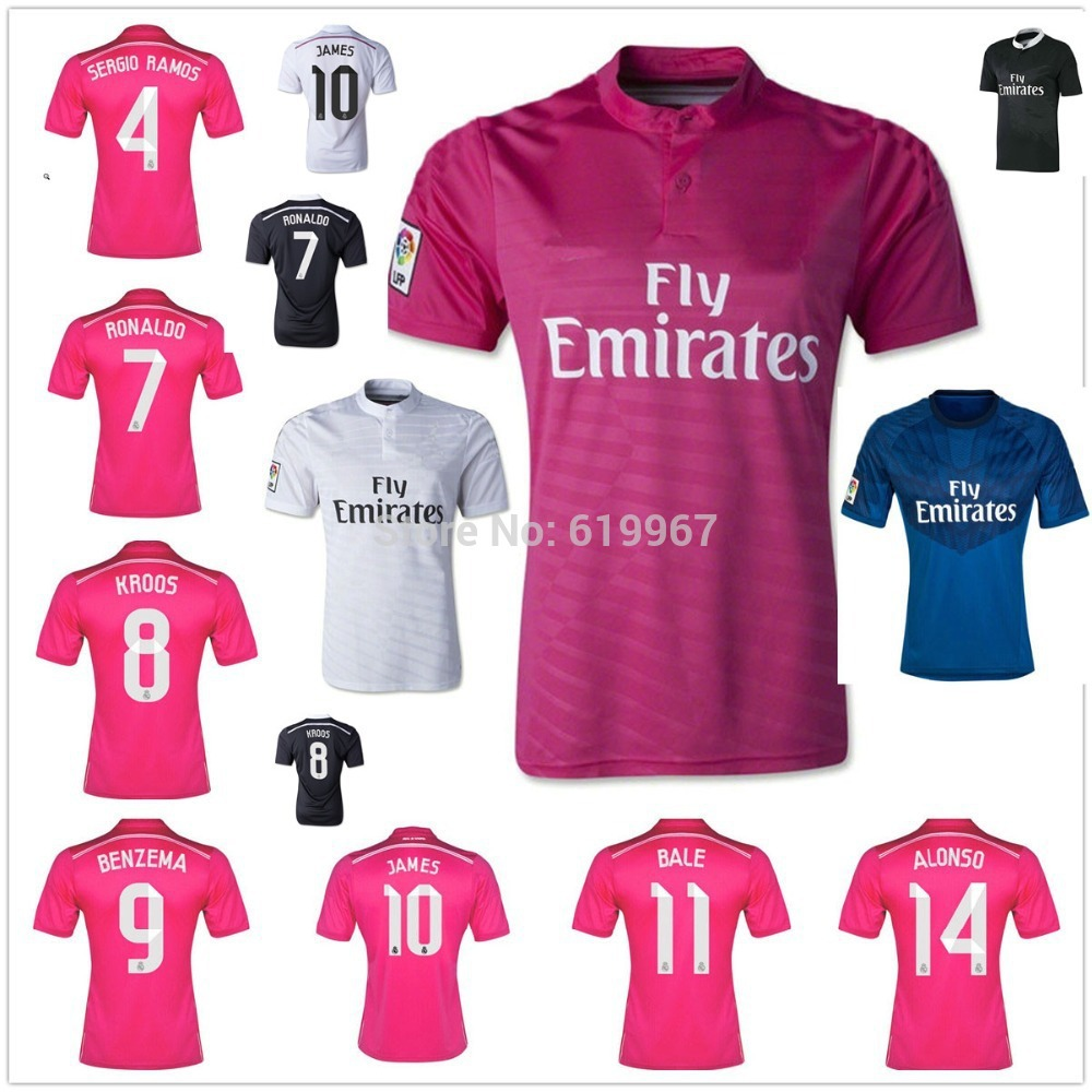 RAMOS KROOS BALE 14/15 Real Madrid away pink home soccer jerseys, Ronaldo JAMES thai 3A quality football uniform embroidery logo(China (Mainland))