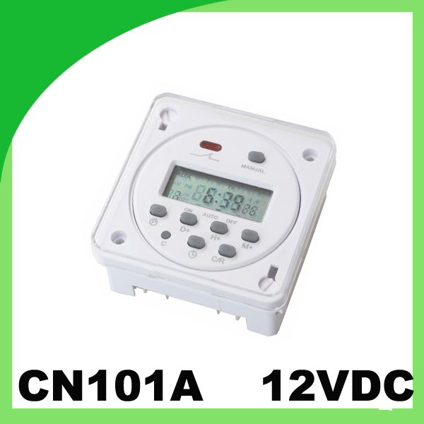 Mini LED display Timer Switch CN101A 12VDC Street lamp controller time relay with protection cover(China (Mainland))