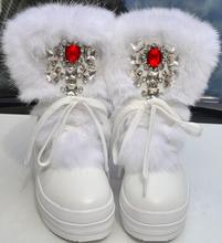 Botas de diamantes de Imitación de Diamante de Moda Real de Piel de Conejo de Invierno Botas de Nieve Caliente de Espesor de Alta-Top Zapatos de Las Mujeres de Gran Tamaño 40 Botas de invierno(China (Mainland))