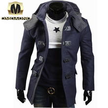 Men's winter long section of thick wool coat Korean Slim models comfortable and warm woolen jacket casual male hooded coat(China (Mainland))