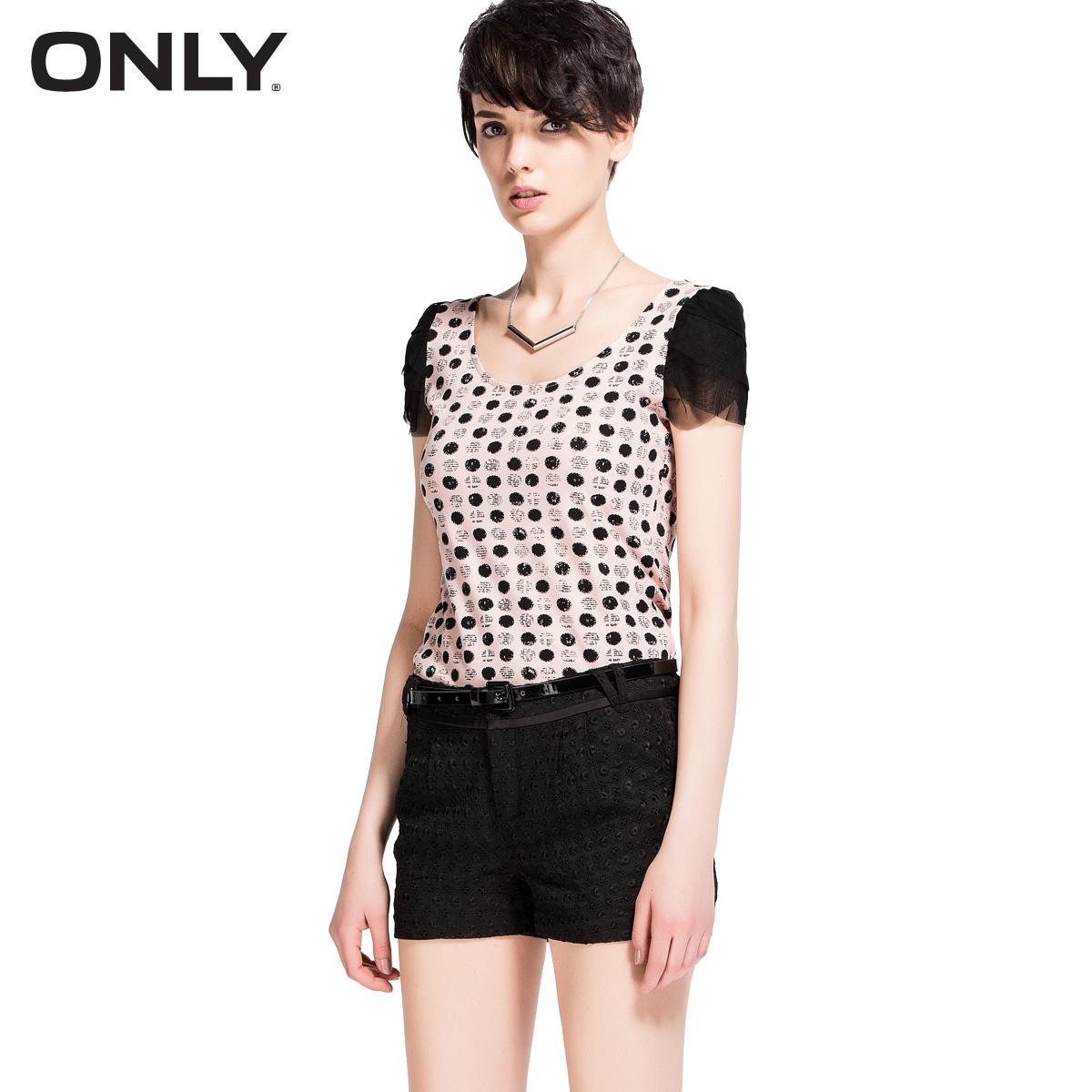 Only xiaxin chiffon polka dot slim puff sleeve top o-neck bow t-shirt female short-sleeve l 113201128(China (Mainland))