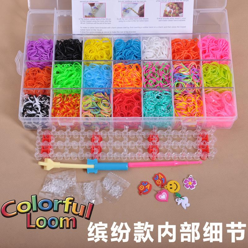 Free Shipping Rubber Loom Bands Set Colorful Loom Rubber Kit Bracelets DIY Gift for Kids 21 Colors+4200pcs Bands Charm Bracelets(China (Mainland))