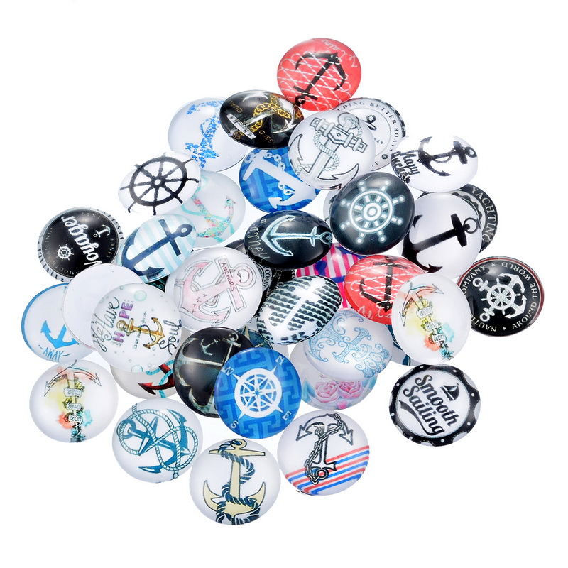 10 PCs Mix Randomly Glass Flatback Scrapbooking Patches Rich Color Dome Cabochons 20mm DIY Craft Jewelry Garment Accessory(China (Mainland))