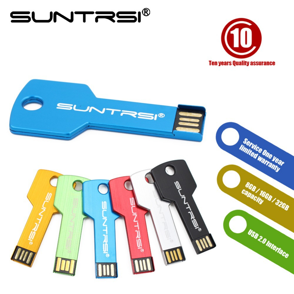 Suntrsi usb flash drive USB 2.0 Pen Drive 32gb 16gb 8gb 4gb pendrive waterproof Metal Key Memory Stick Free Shipping(China (Mainland))