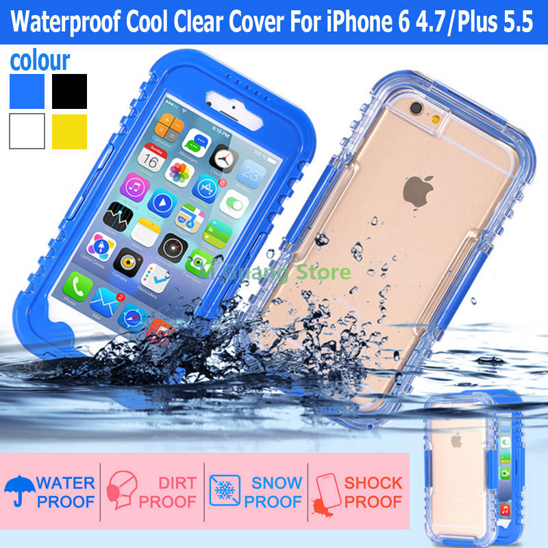 Waterproof Cool Clear Cover For iPhone 6 4 7 Plus 5 5 Luxury Soft Mobile Phone