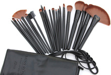 Miss Rose professional makeup brushes 22pcs foundation brush black wood hand coffee hair contour brush in leather bag MS042(China (Mainland))