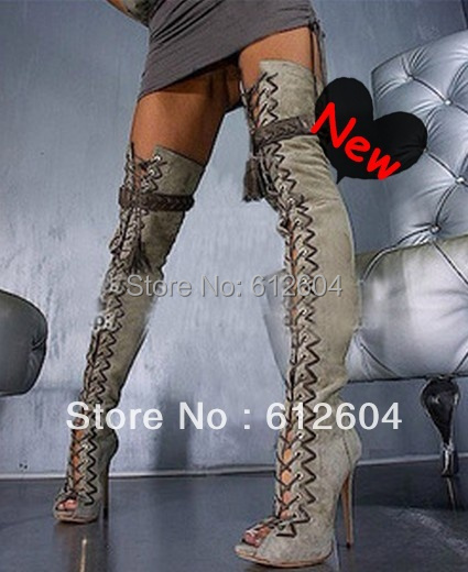 New arrival women sexy see through above knee summer boots platform high heel shoes lace-up over the knee boots