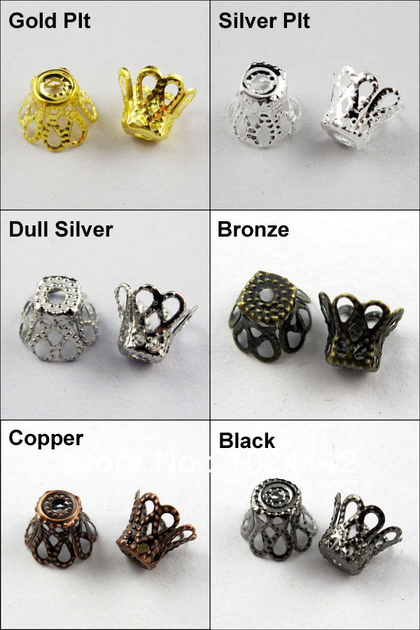 Free Shipping 2000Pcs 5x6mm Wine Class Flower Bead Cap Gold Silver Bronze Copper Black etc.Wholesale(China (Mainland))