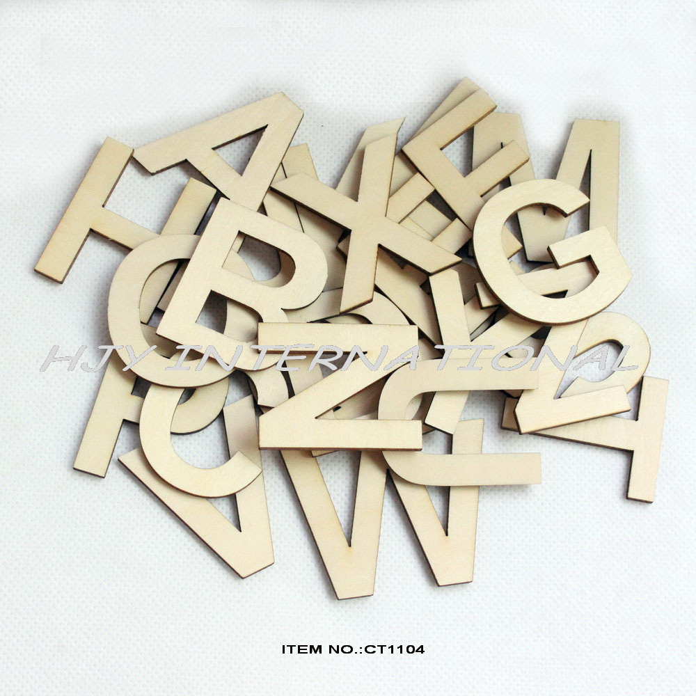 ) 50mm Wooden Alphabet Letters Set, Unfinished Unpainted Wood Letter ...