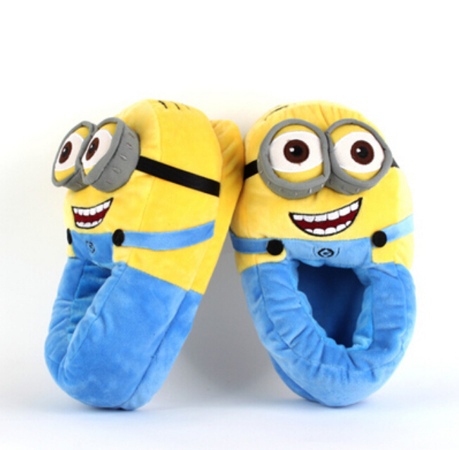 Гаджет  2015 Despicable Me Minions Slipper Plush Stuffed Funny Anime Slipper  Animal Warm Winter Home Slippers For Women Men Kid None Обувь