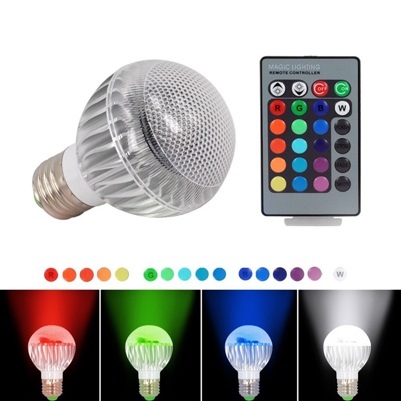 3W E27 16 Color LED RGB W Magic Light Bulb Lamp with Wireless Remote Control(China (Mainland))