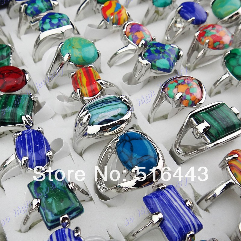 New Arrival 50pcs Charms Vintage Mix Natural Malachite Stones Turquoise Silver Womens Mens Rings Wholesale Jewelry Lots A-918(China (Mainland))