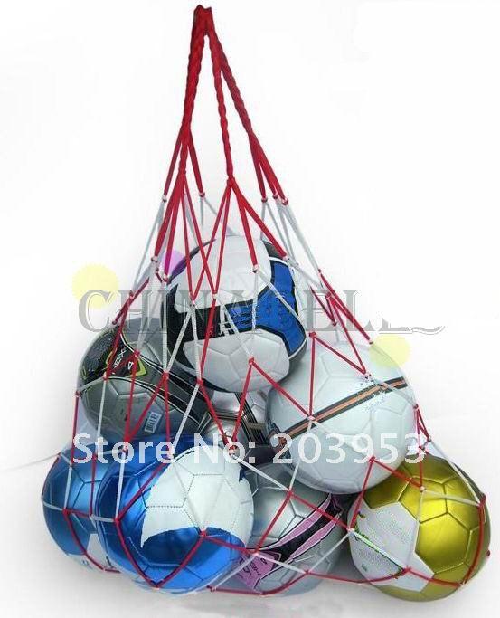 31pcs free ship white-red reticular cord sporting basketball mesh ball net bag soccer ball net bag<br><br>Aliexpress