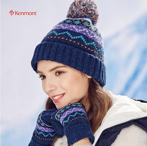 New Kenmont Autumn Winter Women Knitted Jacquard Beanie Hat Wool Yarn Ball Outdoor Ski Chic Skullies Cap Christmas Holiday 1781Одежда и ак�е��уары<br><br><br>Aliexpress