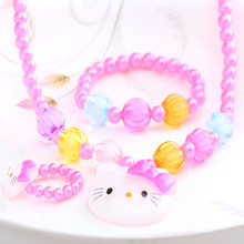 1Set=3Pcs Summer Candy Color Beads Cat Jewelry Set Necklace Bracelets Rings Baby Girls Simulated Pearl Accessories Hair Ornament(China (Mainland))