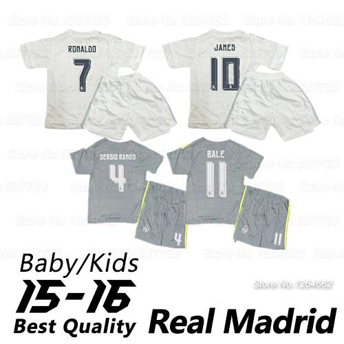 2016 Real madrid Kids Top Thai Quality baby kits uniforms 15 16 Real madrid kids Jerseys kids football kits ronaldo jerseys(China (Mainland))