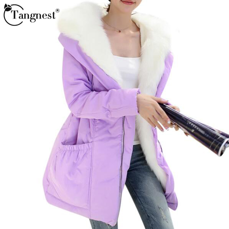TANGNEST 2017 Thick Warm Winter Jacket Women Cute Solid Color Hooded Fur Collar Duck Jackets Long Coat Parkas WWM813 - Women's Store store