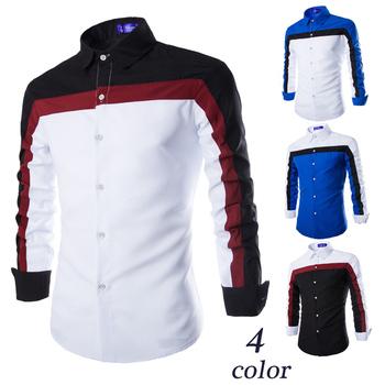 Мужчины в свободного покроя рубашка три цвет пэчворк Camisas приталенный длинный ...