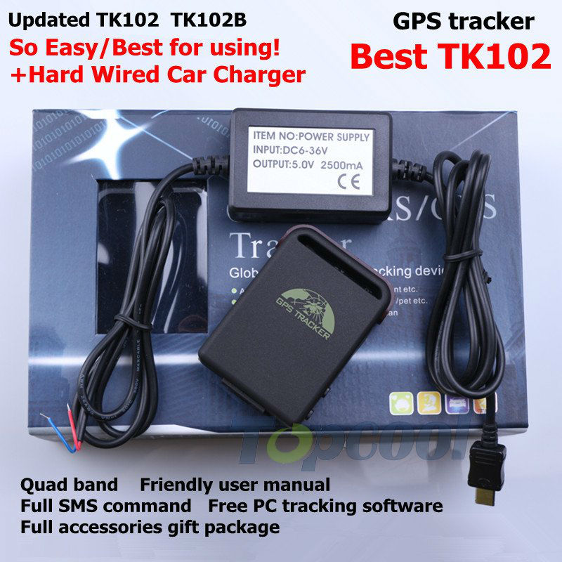 Car GPS Tracker TK102B+Hard Wired Car Charger Car Alarm System Monitor memory slot! shock sensor quad-band GPS tracking system(China (Mainland))