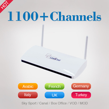 Leadcool Android TV Set Top Box Qhdtv 1100+ French Arabic English Languages Sky IT/UK/DE Sports Iptv Channels Wifi Supported