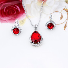 Fashion 18k Silver Plated Austrian Crystal Water Drop Leaves Earrings Necklace Jewelry sets Classic Wedding Dress For Women