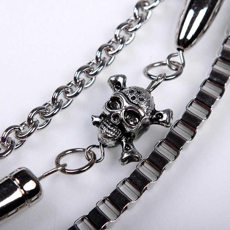 Metal Men Biker Pants Chain Skull Bullets Multilayer Waist Chain Male Belly Chain Fashion Men Jewelry