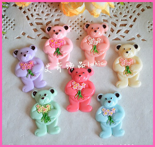 (can pick color) bear japanese kawaii flatback resin embellishments diy crafts mixed cabochons for ,sewing,cell phone case