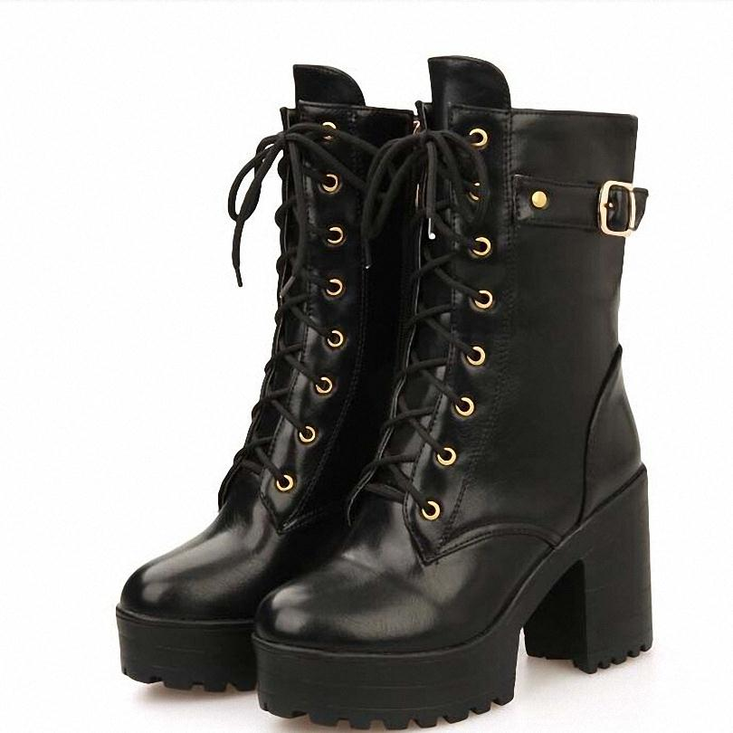 New Fashion Thick High Heels Ankle Boots For Women Sexy Round Toe Motorcycle Boots ladies Buckle Girl Shoes<br><br>Aliexpress