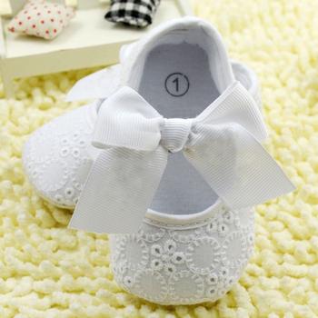 Белый Бантом Девочка Кружева Обувь Малышей Prewalker Anti-Slip Впервые Уокер Simple Детская Обувь