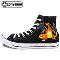 Boys Girls Converse All Star Hand Painted Shoes Women Men Shoes Pokemon Go Charizard Design High