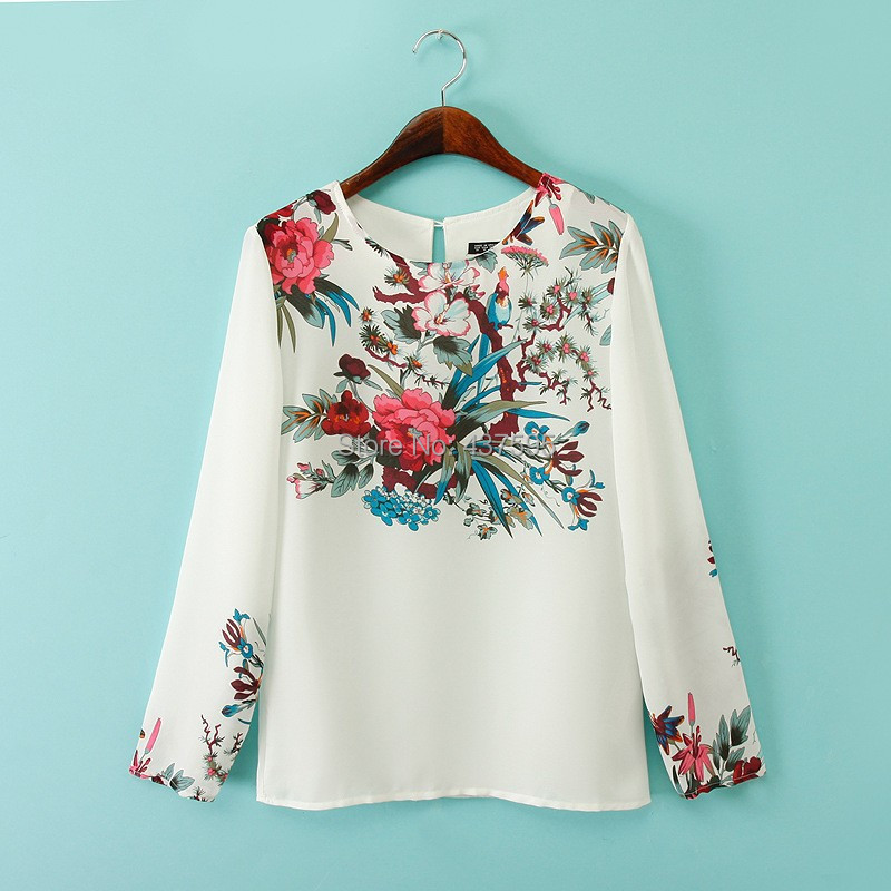 High quality euro za brand designer red vintage floral for White floral shirt womens