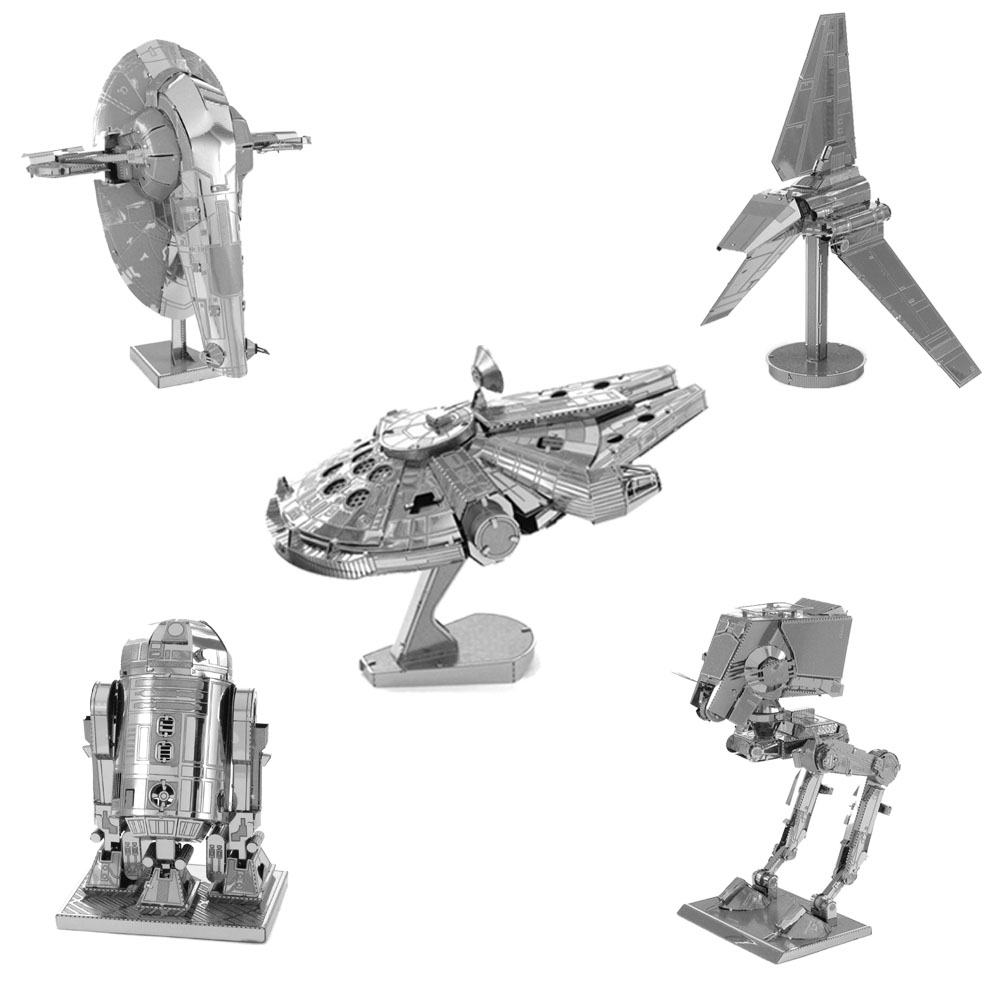 Star Wars 3D Metal Puzzles Assemble DIY R2D2 Tie Xwing Fighter Millennium Falcon Model Toys New Year Gift(China (Mainland))