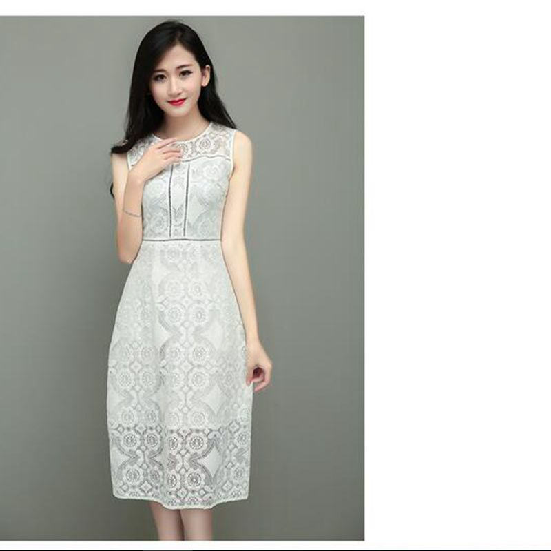 2016 summer new sleevelese round collar set head hollow out white lace ln the Cultivate one's morality long dresses(China (Mainland))