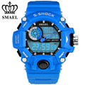 New SMAEL Brand Sports Watches Blue Waterproof LED Digital Quartz Dual Display Watch Men s Wrist