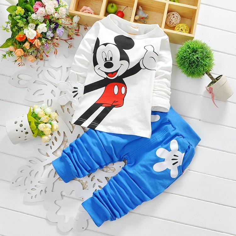 Fashion baby Cartoon clothing Suits Girls boys Minnie Mouse clothes baby 100% cotton shirts+pants 2pcs Children Clothing Set(China (Mainland))