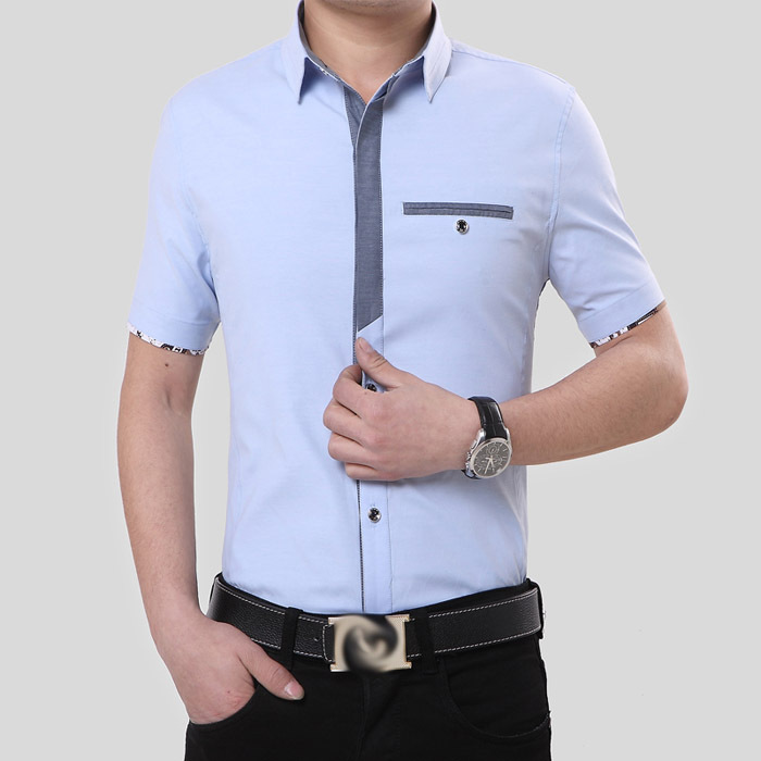 2016 new brand mens dress shirts short sleeve casual men for Mens slim fit formal shirts uk