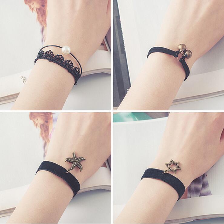 Free shipping wholessale Vintage imitation pearl sun black lace cute bracelets & bangles handmade accessories jewelry bracelets(China (Mainland))