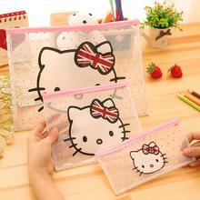 Cartoon Cat PVC file bag pencil case file folder documents filling bag office school suppllies stationery bag(China (Mainland))