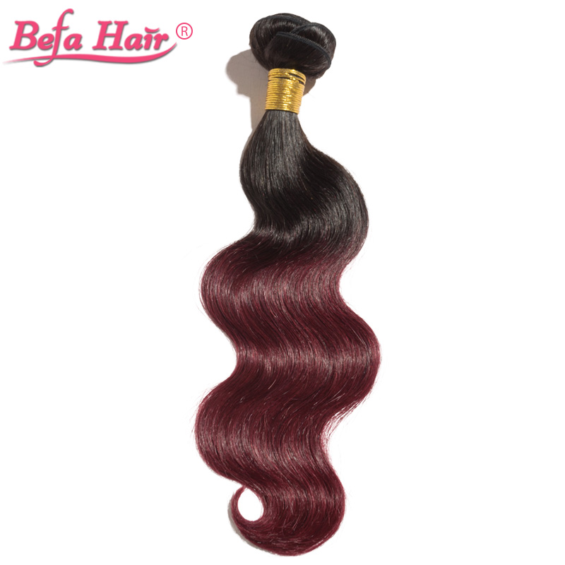 Wholesale 10pcs body wave ombre hair extensions Dyed from grade 6A remy hair free shipping free shedding 1B-99j#(China (Mainland))