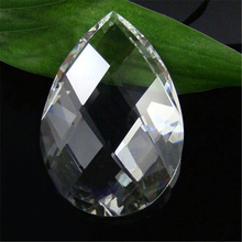 720pcs Gorgeous Chandelier Crystal Cut Clear 38mm Almond Teardrop Prism Lamp Parts Shining Crystal Glass Suncather Free shipping(China (Mainland))