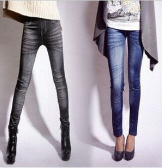 2014 New Fashion One size Stretchy Jean look Fashion legging for women sexy Leggins Slimming Jeggings Wholesale free shipping(China (Mainland))